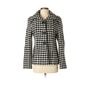 Giacca Houndstooth Pea Wool Blend Coat Size Small
